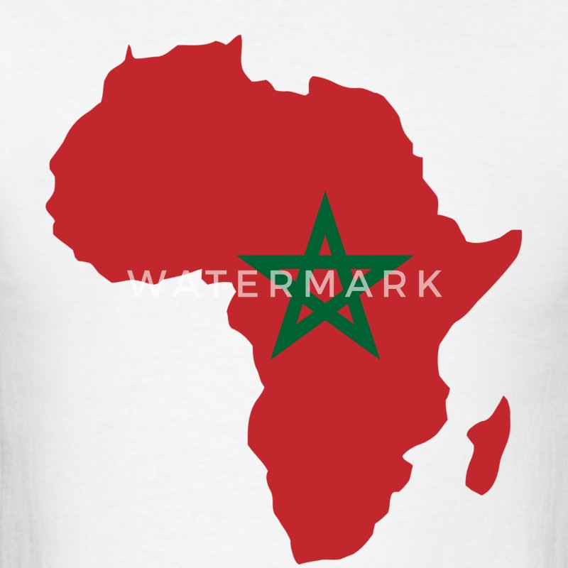 Morocco Flag In Africa Map - Men's T-Shirt