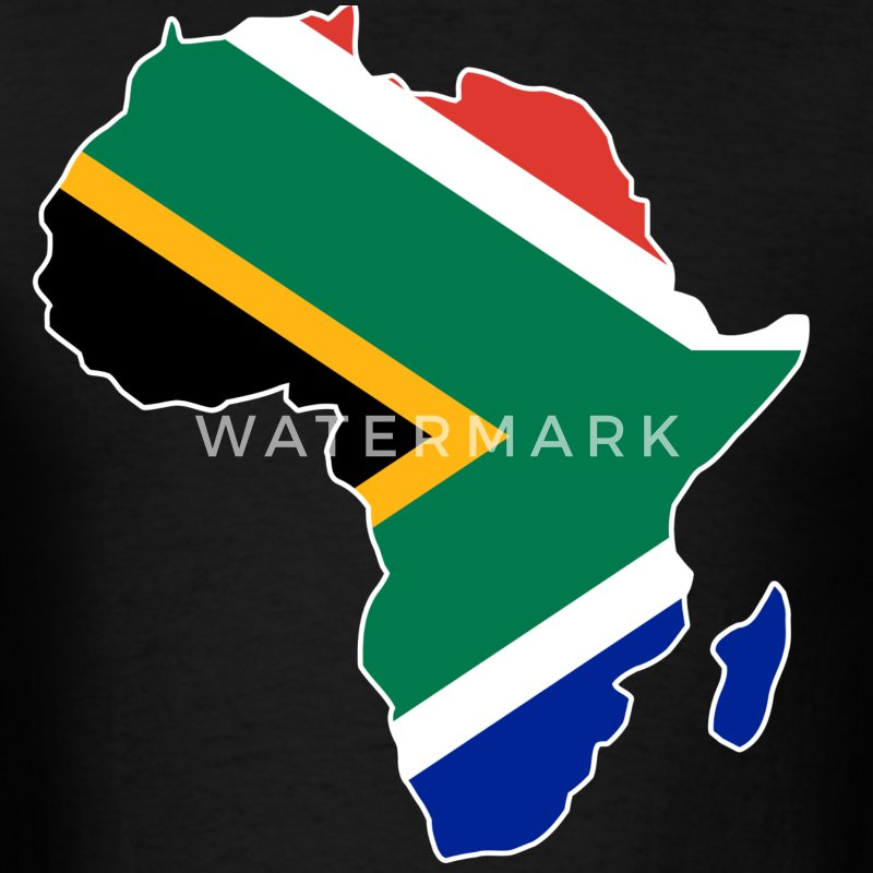 South Africa Flag In Africa Map T-Shirt - Men's T-Shirt