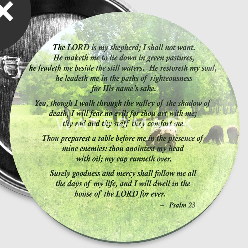 Psalm 23 The Lord Is My Shepherd Buttons - Large Buttons