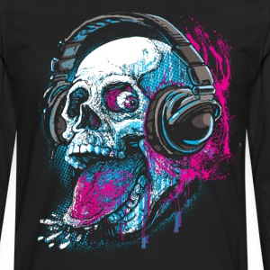 Skull With Headphones Sticks Out Tongue - Men's Premium Long Sleeve T-Shirt