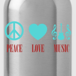 peace love music colorful - Water Bottle