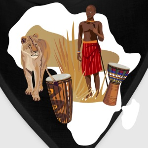 Africa Map T-Shirt With Traditional Drums  - Bandana