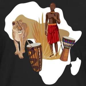 Africa Map T-Shirt With Traditional Drums  - Men's Premium Long Sleeve T-Shirt