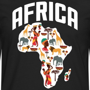 African Heritage with African Map T-Shirt - Men's Premium Long Sleeve T-Shirt