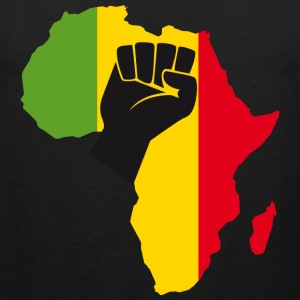 Africa Black Power with Africa Map Fist t-shirt - Men's Premium Tank
