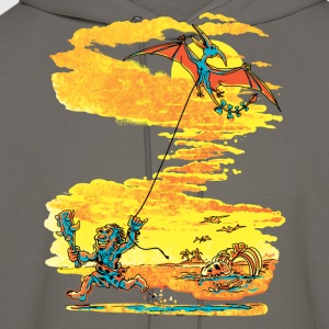 Caveman Flying Pterodactyl Kite - Men's Hoodie