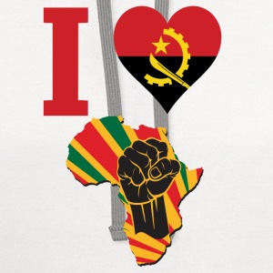 I Love Angola Flag Africa Black Power T-Shirt - Contrast Hoodie