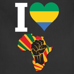 I Love Gabon Flag Africa Black Power T-Shirt - Adjustable Apron