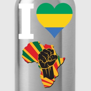 I Love Gabon Flag Africa Black Power T-Shirt - Water Bottle