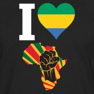 I Love Gabon Flag Africa Black Power T-Shirt - Men's Premium Long Sleeve T-Shirt