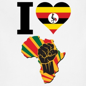 I Love Uganda Flag Africa Black Power T-Shirt - Adjustable Apron