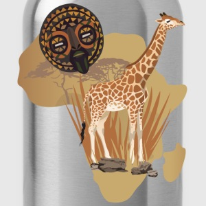 Africa Map With Giraffe T-Shirt - Water Bottle