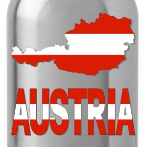 Austria Map Wiith Flag T-Shirt - Water Bottle