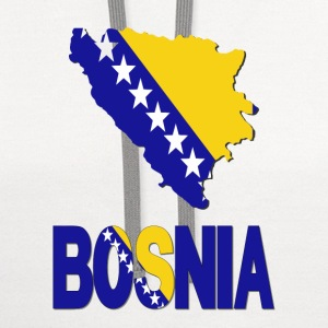 Bosnia Flag In Bosnian Map T-Shirt - Contrast Hoodie