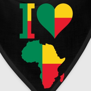 I Love Benin Flag With Africa Map T-Shirt - Bandana