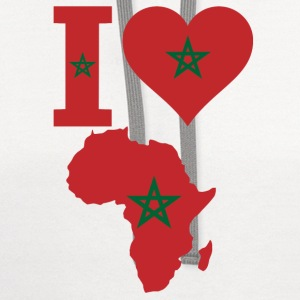I love Africa map Corocco Flag T-Shirt - Contrast Hoodie