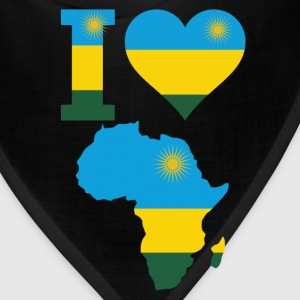 I Love Africa Map Rwanda Flag T-Shirt - Bandana