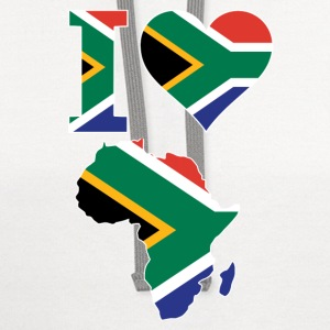 I Love Africa Map South Africa Flag T-Shirt - Contrast Hoodie