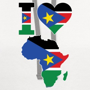 I Love Africa Map South Sudan Flag - Contrast Hoodie