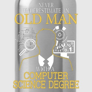 Never Underestimate Old Man Computer Science T-Shirts - Water Bottle