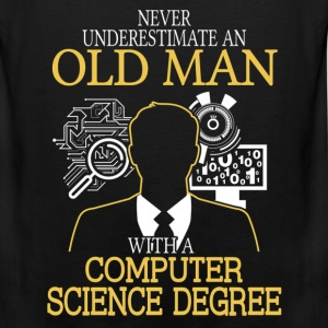 Never Underestimate Old Man Computer Science T-Shirts - Men's Premium Tank