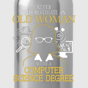 Never Underestimate Old Woman Computer Science T-Shirts - Water Bottle