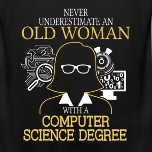Never Underestimate Old Woman Computer Science T-Shirts - Men's Premium Tank