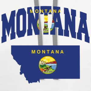 Montana Flag In Montana Map V-Neck Tee - Contrast Hoodie