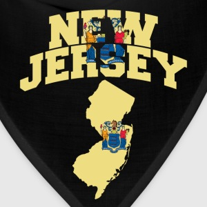 New Jersey Flag in New Jersey Map T-Shirt - Bandana