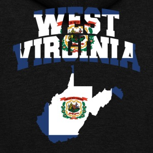 West Virginia Flag Map American Apparel Tee - Unisex Fleece Zip Hoodie by American Apparel