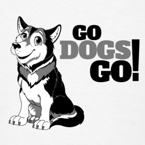 Husky 3 Color Go Dogs Go Buttons - Men's T-Shirt