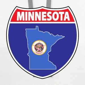 Minnesota flag hwy sign v-neck tee - Contrast Hoodie