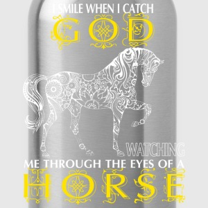 Horse - I catch God watching me through the eyes - Water Bottle