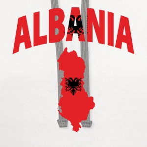 Albania flag map v-neck tee - Contrast Hoodie