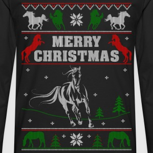 Ugly Christmas sweater for horse lover - Men's Premium Long Sleeve T-Shirt