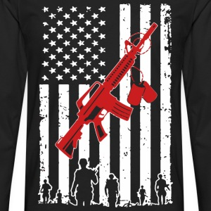 Army veteran American flag - Men's Premium Long Sleeve T-Shirt