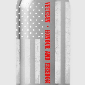 Veteran flag, honor and freedom - US flag - Water Bottle