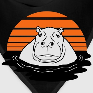 sun evening moon sunset hippopotamus thick water s T-Shirts - Bandana