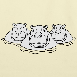 3 friends team group family hippopotamus thick wat T-Shirts - Eco-Friendly Cotton Tote