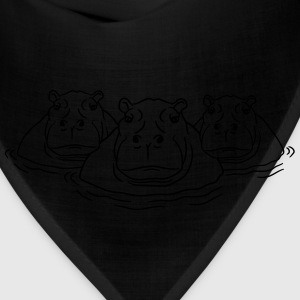 3 friends team group family hippopotamus thick wat T-Shirts - Bandana