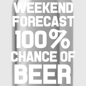 Weekend forecast 100% chance of beer funny shirt  - Water Bottle