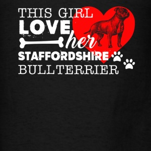 Girl Loves Staffy Bull Terrier - Men's T-Shirt