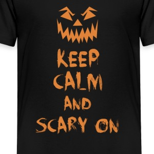 Keep Calm And Scary On Pumpkin Halloween Adult Kid Kids' Shirts - Toddler Premium T-Shirt
