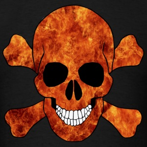 Orange Fire Skull And Crossbones Long Sleeve Shirt - Men's T-Shirt