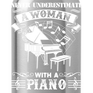 Woman With A Piano Shirt - Water Bottle