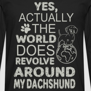 Dachshund - Actually the world does revolve around - Men's Premium Long Sleeve T-Shirt