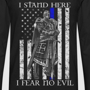 Crusader - I stand here fearing no evil flag tee - Men's Premium Long Sleeve T-Shirt