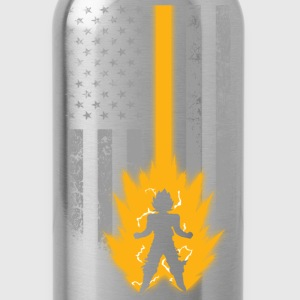 Saiyan lover with American flag T - shirt - Water Bottle