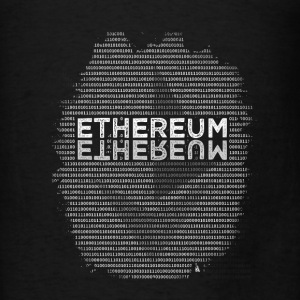 Ethereum Binary (white) design on black Hoodie - Men's T-Shirt