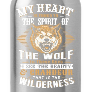Wolf - My heart is tuned to the spirit of wolf tee - Water Bottle